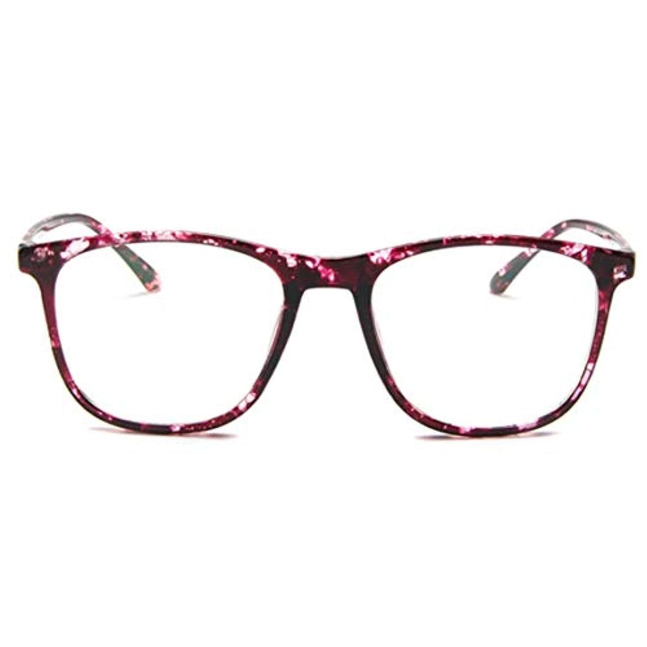 どう?繁栄するエール韓国の学生のプレーンメガネ男性と女性のファッションメガネフレーム近視メガネフレームファッショナブルなシンプルなメガネ-パープル