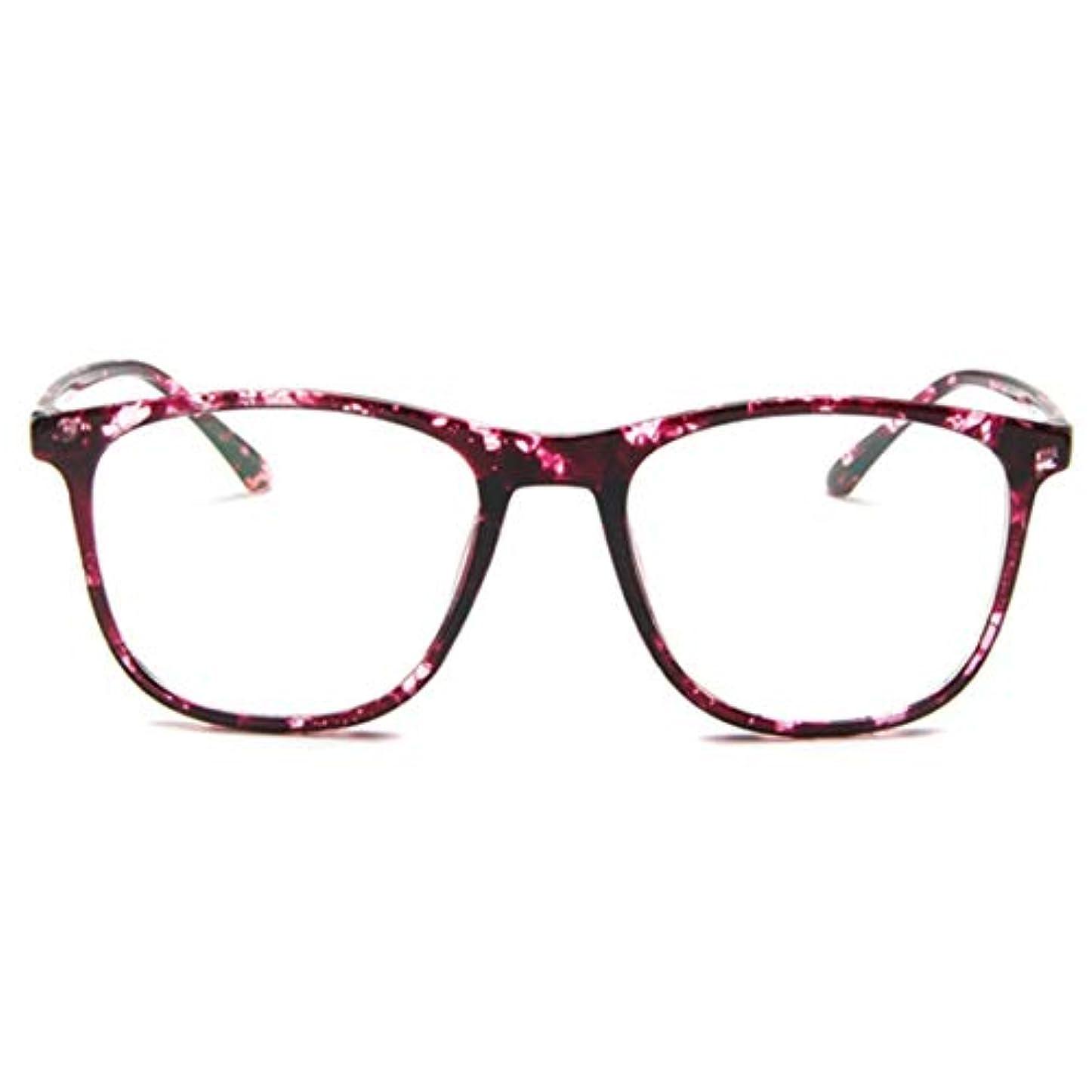 干渉する特定の哀韓国の学生のプレーンメガネ男性と女性のファッションメガネフレーム近視メガネフレームファッショナブルなシンプルなメガネ-パープル