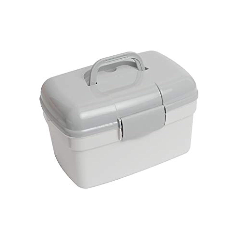 LWWOZL 家庭用薬箱多層薬品箱救急箱プラスチック薬品箱大家庭用小収納ボックス家庭用医療箱 (Color : Gray, Size : 27cm×17cm×17cm)