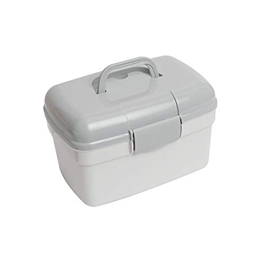 破壊鏡ケイ素LWWOZL 家庭用薬箱多層薬品箱救急箱プラスチック薬品箱大家庭用小収納ボックス家庭用医療箱 (Color : Gray, Size : 27cm×17cm×17cm)