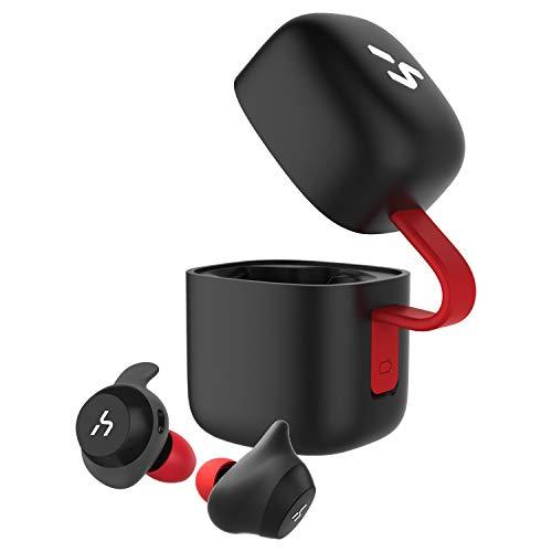 HAVIT「Bluetooth 5.0 」Bluetooth イヤホン完全ワイヤレスイヤホンTWSイヤホン スポーツイヤホン AAC対応/Siri対応/IPX5防水規格/最大18時間音楽再生/高音質チタンドライバー搭載 片耳両耳とも対応 自動ペアリング自動ON/OFF スポーツ、日常用 充電収納ケース付 左右分離型 マイク内蔵 G1黒+赤