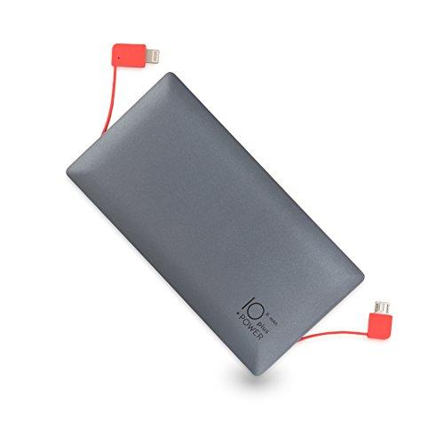 Jコートン モバイルバッテリー 10000mAh 大容量 5V/2.4A急速充電 軽量 iPhoneケーブル内蔵(ブラック)