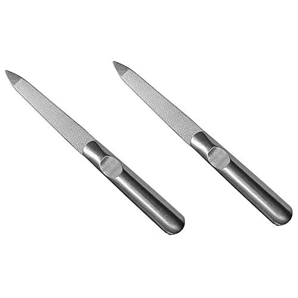 プレーヤースタッフ十二Semoic 2個 ステンレススチール ネイルファイル 両面マット アーマー美容ツール Yangjiang爪 腐食の防止鎧