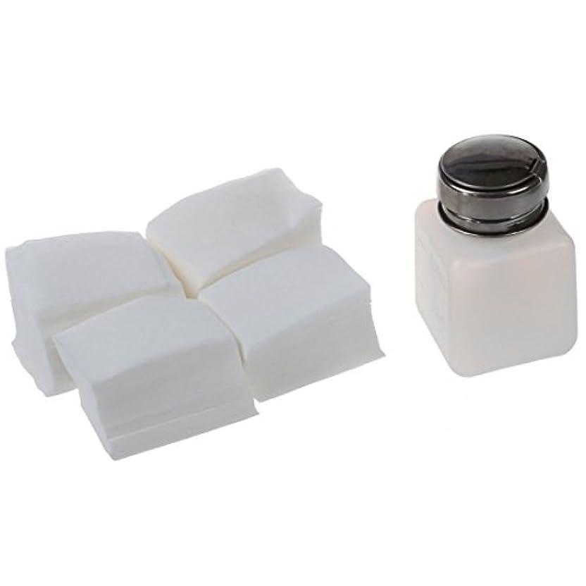 腸敵極めて重要なSODIAL(R) ネイルアクリルUVジェルコットンリムーバー クリーナー研磨ワイプパッド1 X ネイルアートボトル+ 400パッド