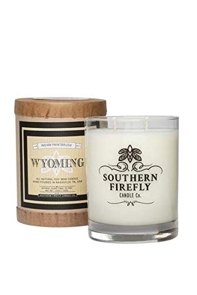 ピストル聖職者活力Southern Firefly Candle Co. Wyoming インディアンペイントブラシ 14オンス ガラス ステートプライド ホームシック