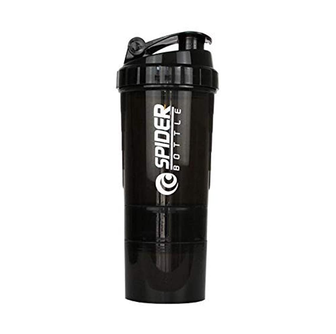 熟す球体求めるブレンダーボトル プロテインシェイカー 500ml シェーカーボトル (ブラック)