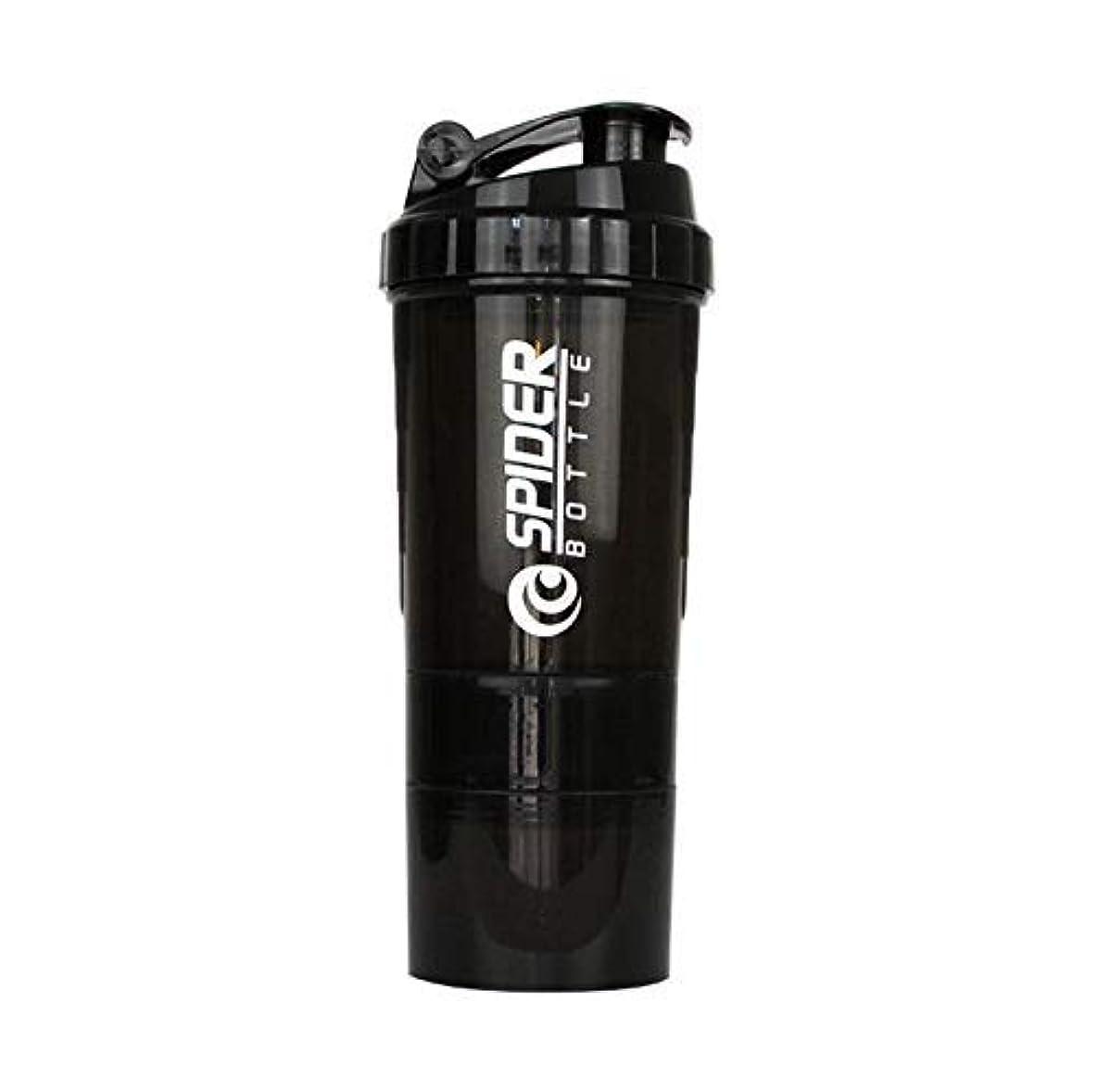 ペストリーレールトレーニングブレンダーボトル プロテインシェイカー 500ml シェーカーボトル (ブラック)