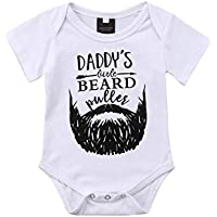 Baby Boys Daddy's Little Beard Bodysuits Rompers One-Piece Cotton White Jumpsuits Clothes