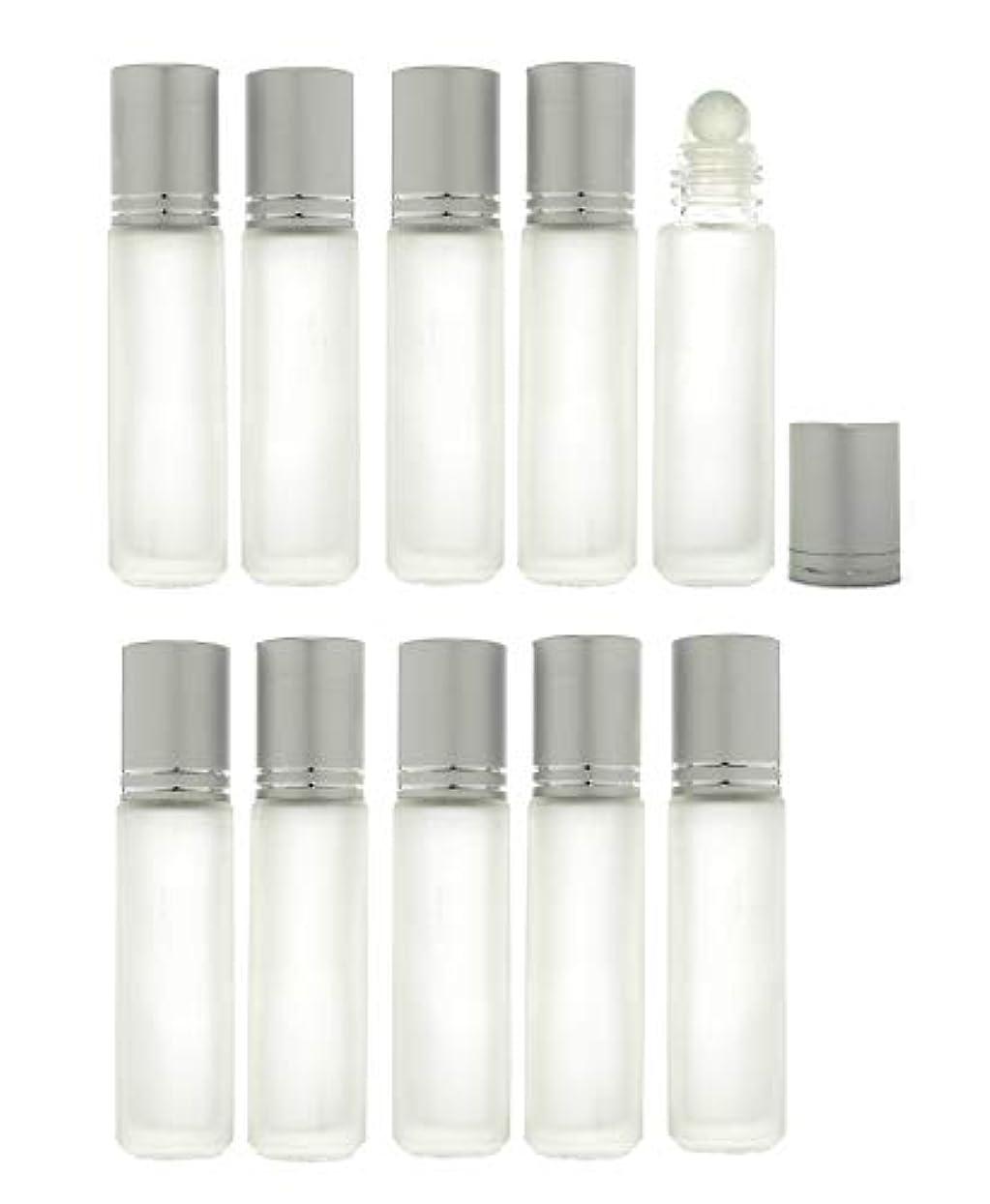 空いている損なう改善Solid Valu ロールオンボトル 10ml 10本セット 遮光瓶 ガラスロール アロマオイル エッセンシャルオイル 擦りガラス 半透明