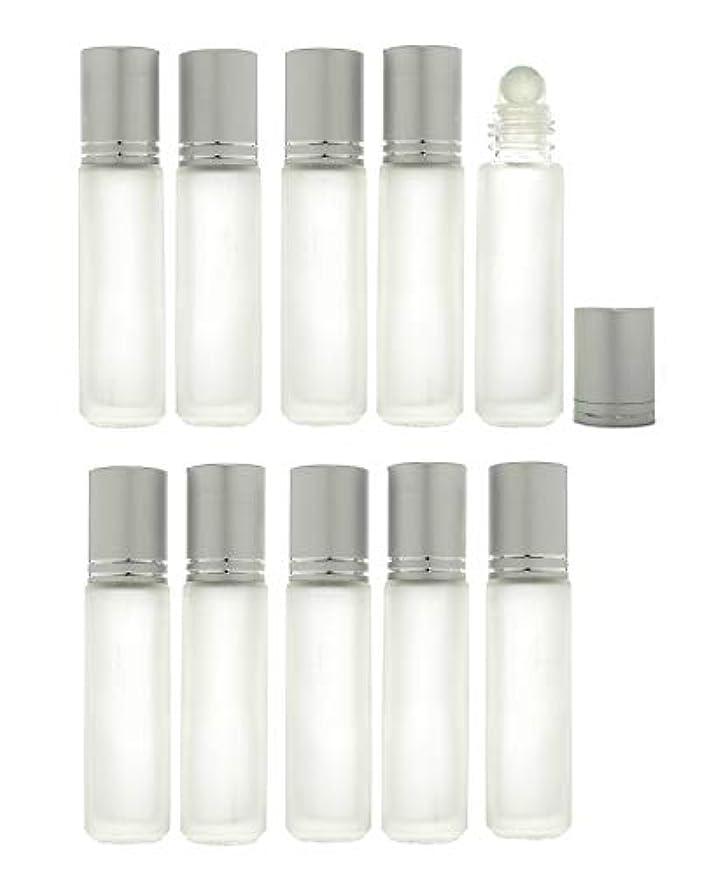 悪行集中的な建物Solid Valu ロールオンボトル 10ml 10本セット 遮光瓶 ガラスロール アロマオイル エッセンシャルオイル 擦りガラス 半透明