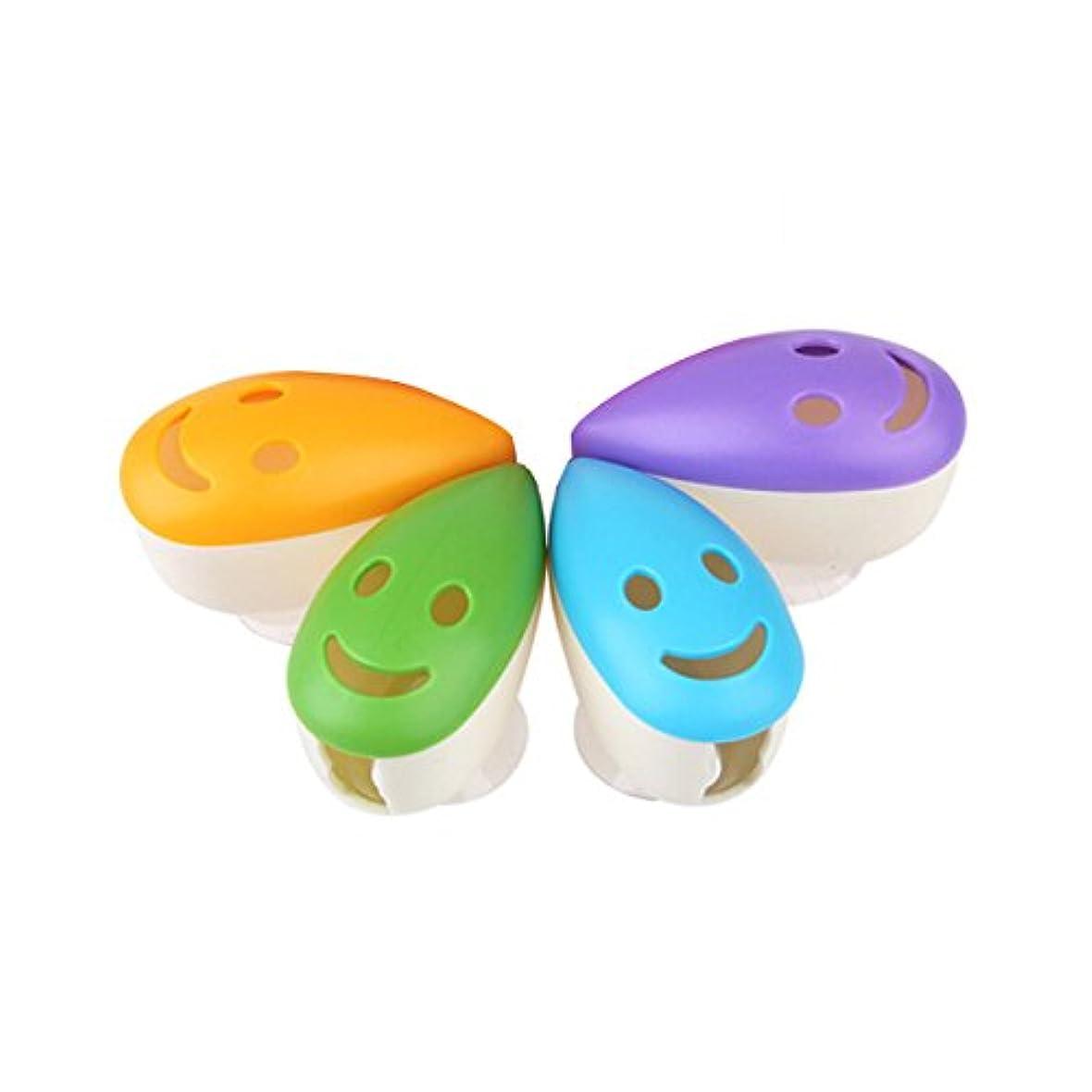 安定短くする落ち込んでいるROSENICE スマイルフェイス抗菌歯ブラシヘッドホルダーサクションカップ4本用
