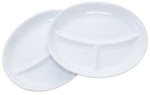 エムズスタイル 仕切り皿 楕円ホワイトランチプレート ペアセット MS-90029