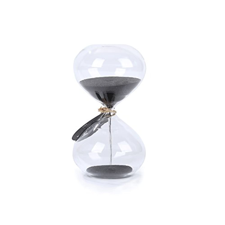 Biloba(バイロウメー) フラットな形 11㎝の砂時計 スタイリッシュなサンド?タイマー ガラスの砂 3分計 ブラック