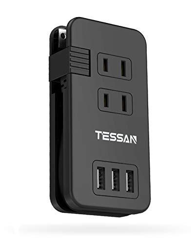 USB電源タップ 小型 外出に最適 3AC口 3USBポート TESSAN usb コンセント コードが本体に収納 マルチタップ usb充電タップ 海外旅行 出張 オフィス用 usb acアダプター