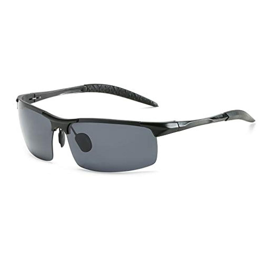 普通の両方苦い男性用スポーツ偏光サングラス、超軽量Al-MgメタルハーフフレームUV400保護メガネ、乗馬に最適、釣り、マルチカラーオプション R-21 (Black)