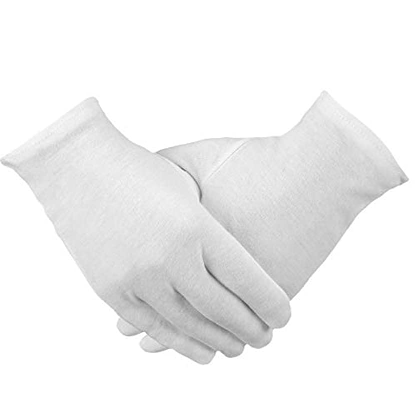 PAMASE 12ペア 手荒れ対策 コットン手袋 綿手袋 純綿 ハンドケア 白手袋 お休み 乾燥肌用 保湿用 家事用 礼装用 メンズ レディース 手袋