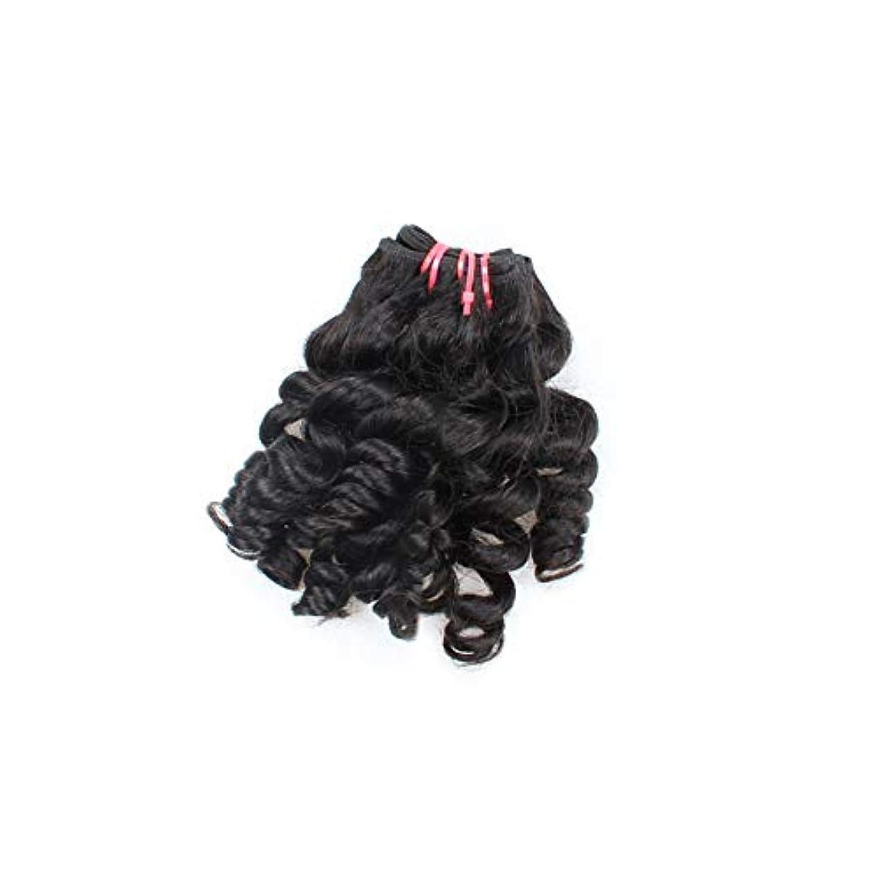 官僚同級生侮辱WASAIO 閉鎖ボディリアルなブラックカラーで、ブラジルのカーリー人間の髪バンドルワンタンウェーブウィーブ (色 : 黒, サイズ : 16 inch)