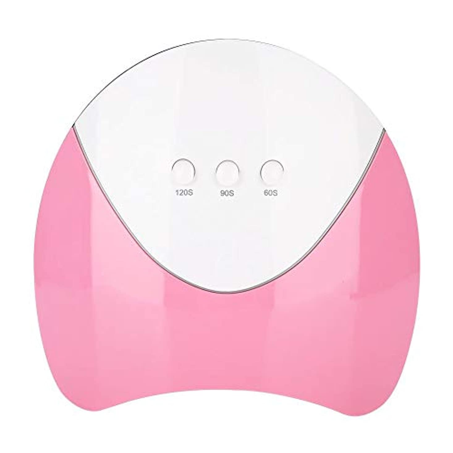 強要賛辞不確実UV LEDネイルドライヤー 光線療法マシン 36WのUV ハイパワー UV と LEDダブルライト ジェルネイル用 3タイマー インテリジェントな(ピンク)