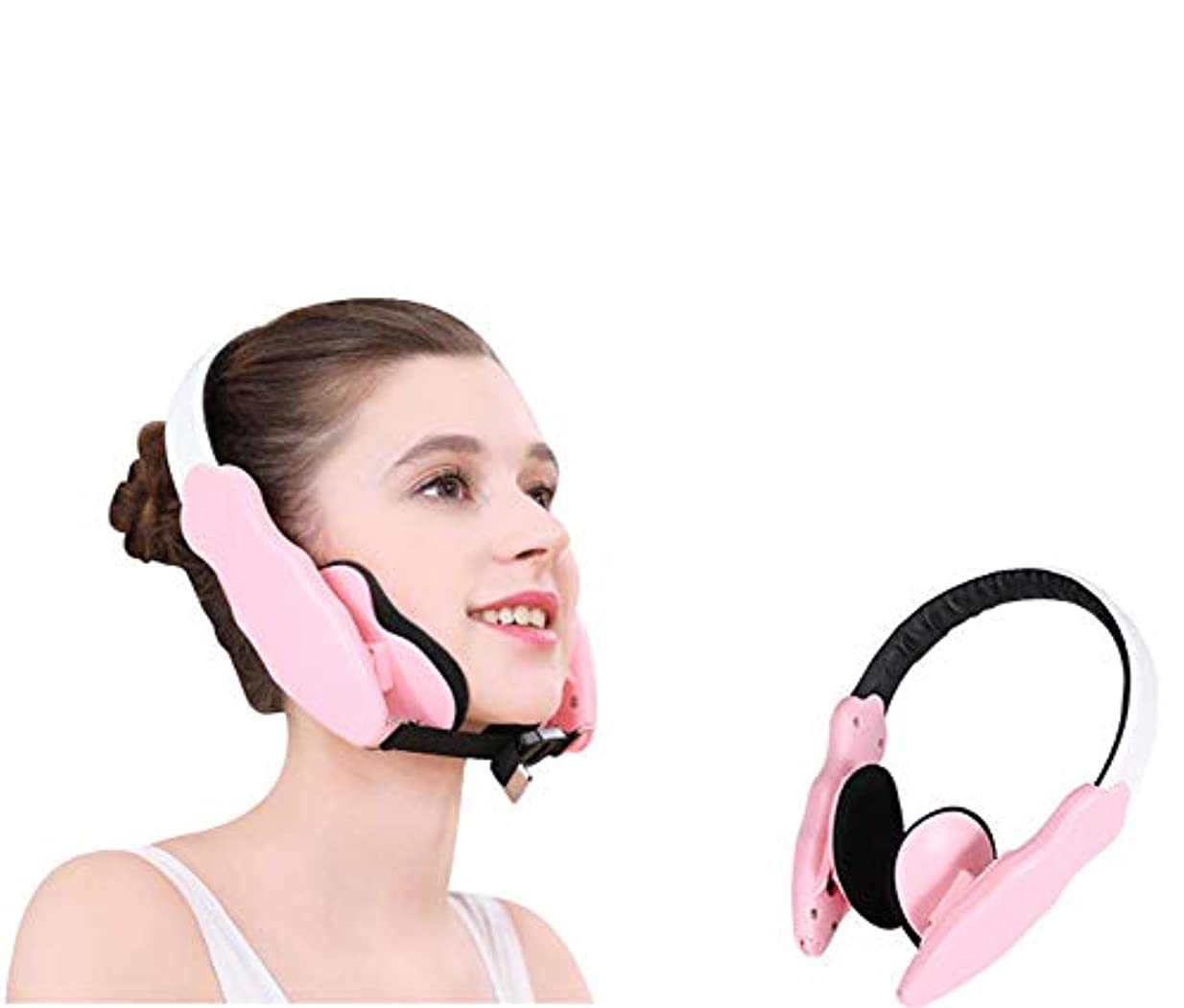 リットル吸う傾向フェイスリフティングベルト、フェイスコレクション、フェイスリフティングインストゥルメント、フェイス/サイズの修正、アシンメトリー、下顎、ジョーアセンブラ (ピンク)