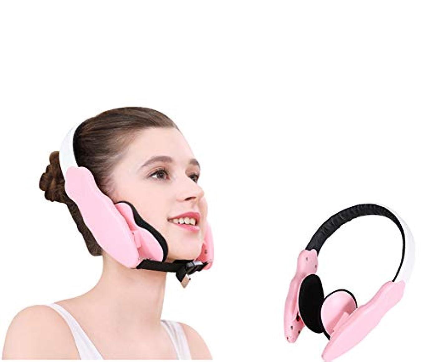 香ばしい激怒安全性フェイスリフティングベルト、フェイスコレクション、フェイスリフティングインストゥルメント、フェイス/サイズの修正、アシンメトリー、下顎、ジョーアセンブラ (ピンク)