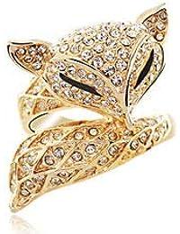 (デマ―クト)De.Markt 指輪 リング レディース 狐型 エレガント ラインストーン キラキラ ゴールド オシャレ