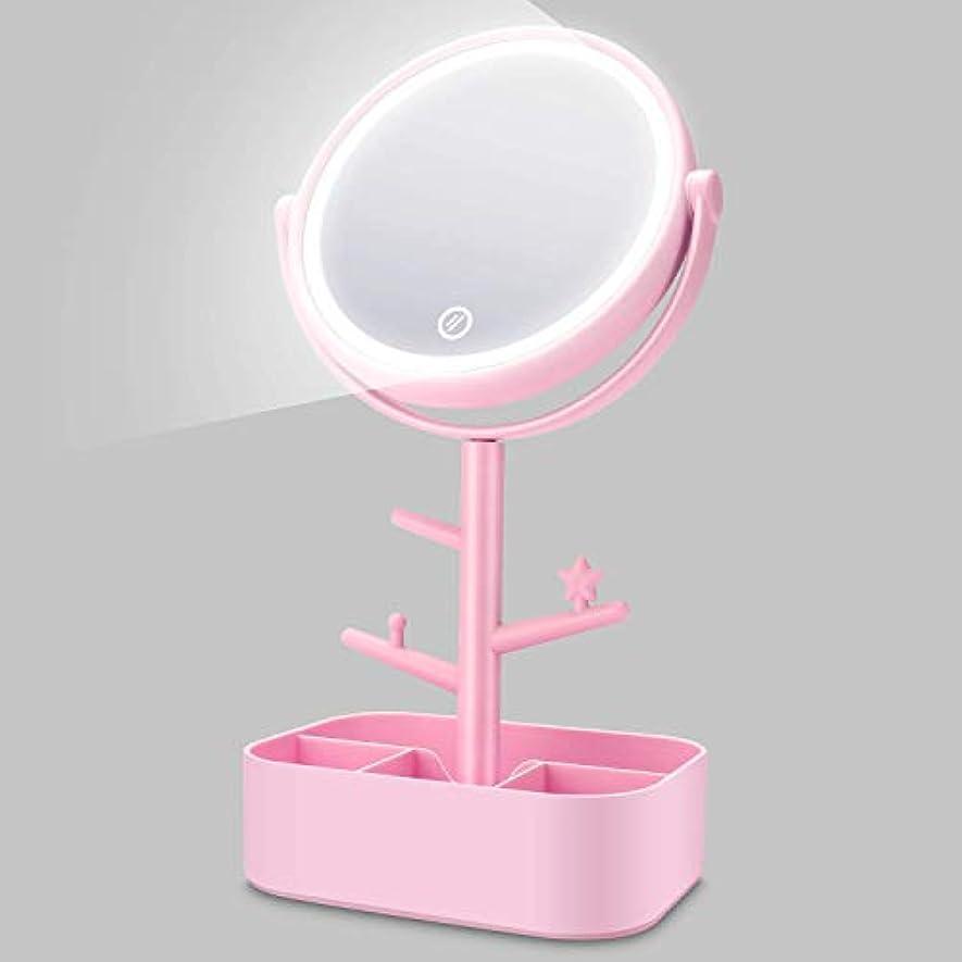 氏愛人定期的化粧鏡 LED 卓上鏡 メイク 女優 スタンドミラー LEDライト付き 明るさ調節可 充電式 360度回転 収納 自然光 柔らかい光 折りたたみ式 USB/乾電池給電 ホワイト (ピンク)