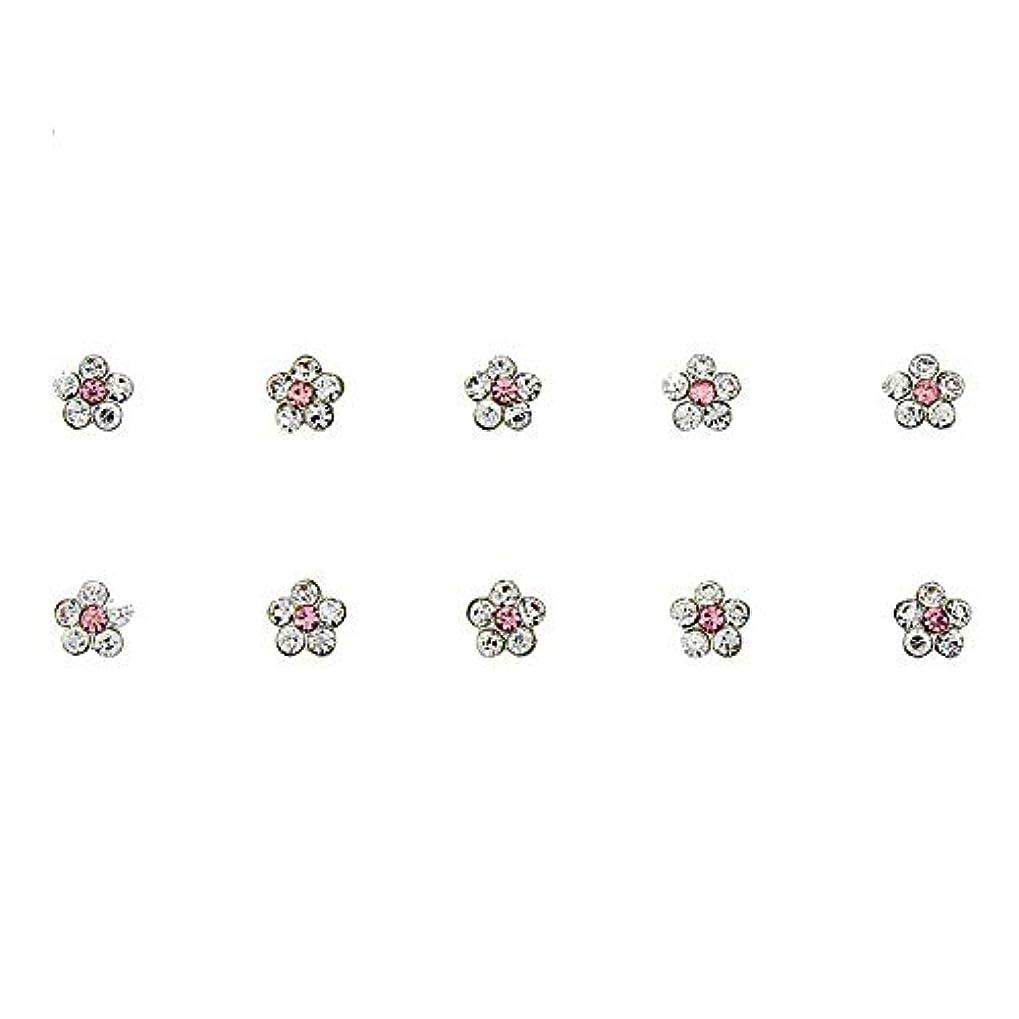 ゼリーかるアライメントネイルズフラワーデザインの3Dネイルアートの装飾グリッター合金ピンクストラスマニキュア用10個/ロットクリスタルラインストーン