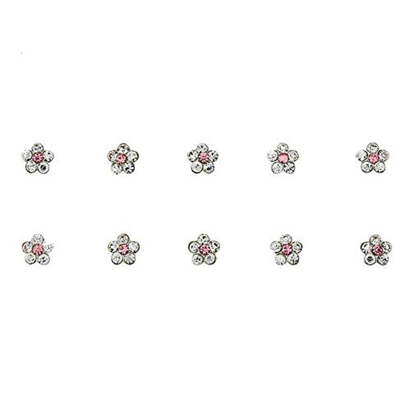 キャンパス使い込む分析的ネイルズフラワーデザインの3Dネイルアートの装飾グリッター合金ピンクストラスマニキュア用10個/ロットクリスタルラインストーン