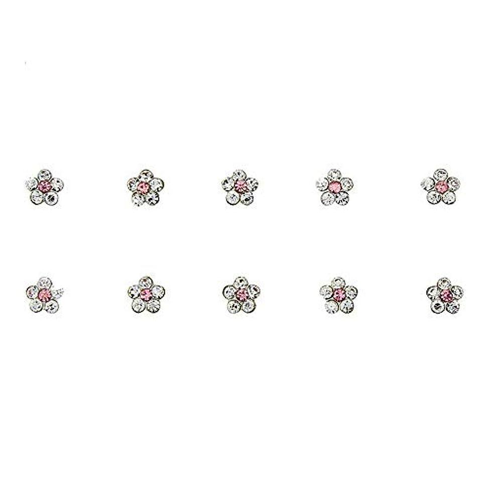 釈義インディカリゾートネイルズフラワーデザインの3Dネイルアートの装飾グリッター合金ピンクストラスマニキュア用10個/ロットクリスタルラインストーン