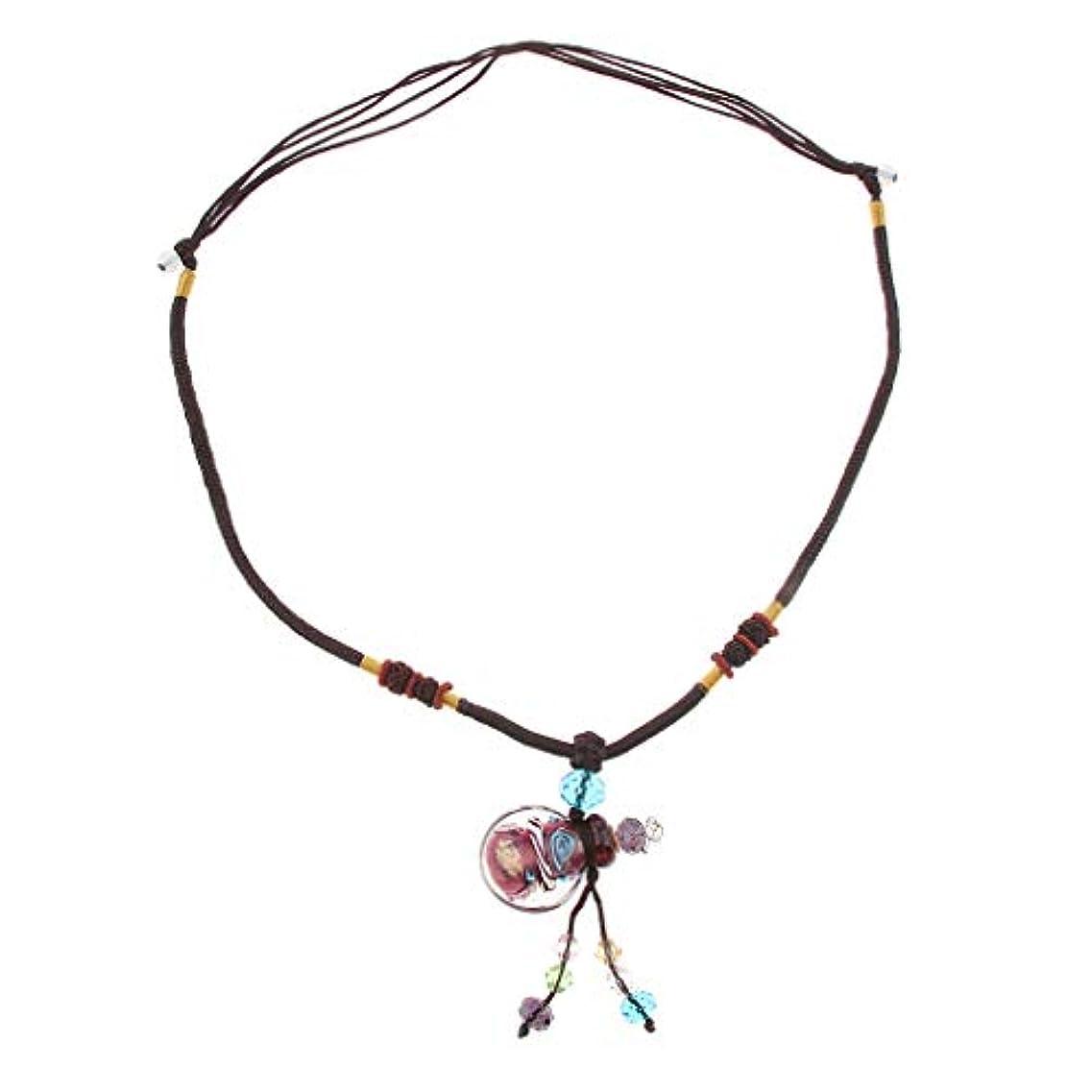 ヒューズプロフィール愛するPerfeclan 香水ネックレス ミニ ガラス ロケット ペンダント エッセンシャルオイル ディフューザー 3色選べ - 紫