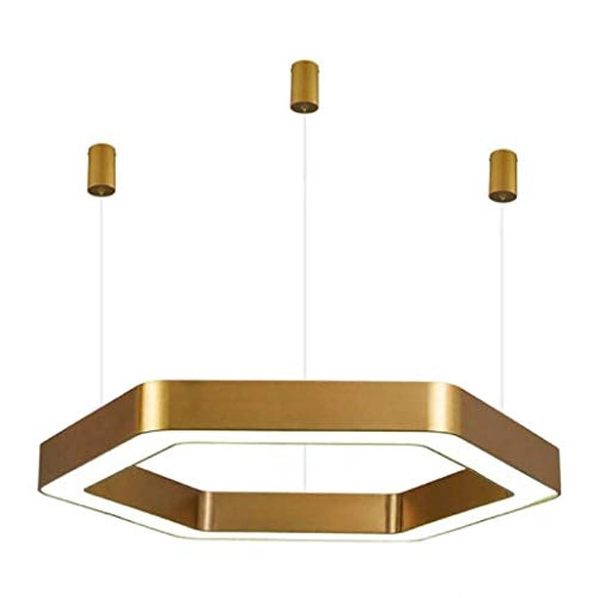 長老けん引オデュッセウスモダン、シンプル、クリエイティブな六角形ラウンドブラッシュチタンリビングルーム照明アートLEDレストラン寝室ランプ110ボルト-240ボルト