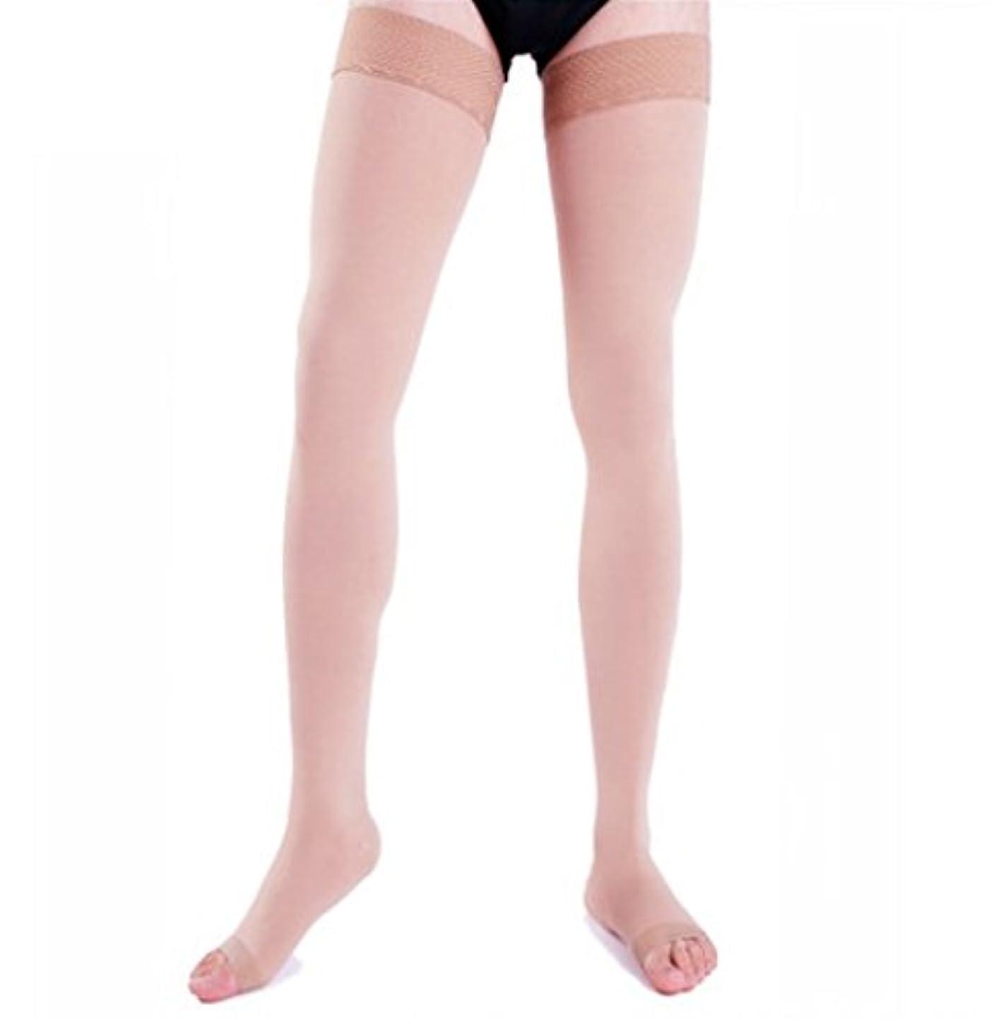 ファンシー程度協定【エコノミー症候群予防】男性用 着圧ソックス オープントゥ ロング (M, ベージュ)