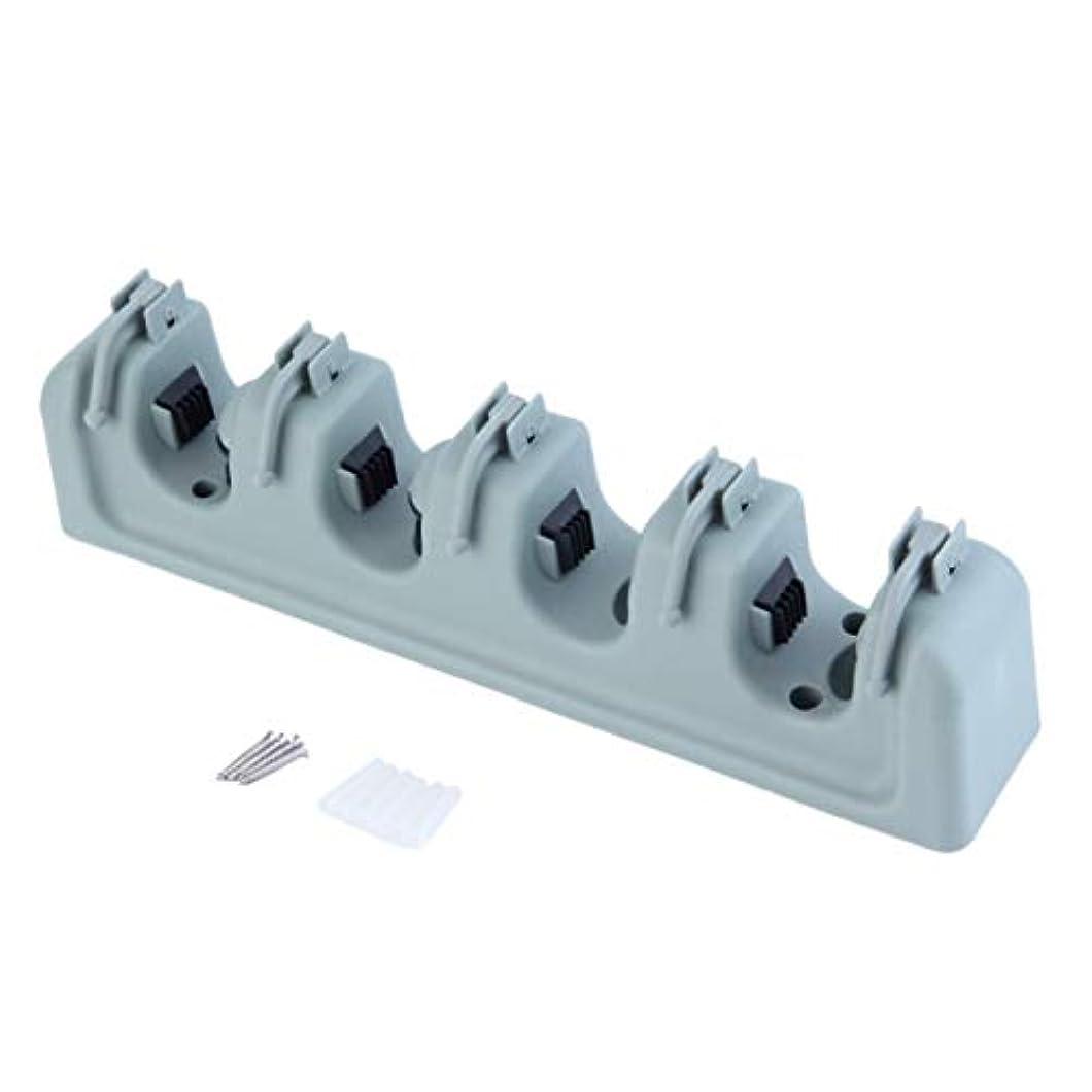ぬれたこの提供するSaikogoods ABS樹脂 多機能キッチンオーガナイザーウォールシェルフハンガーをマウント モップブラシほうき主催 ホルダツール シアン&グレー