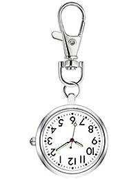 ナースウォッチ 懐中時計 キーホルダー ポケットウォッチ 見やすく大きい 文字盤 夜光 クオーツ 男女兼用 (シルバー)