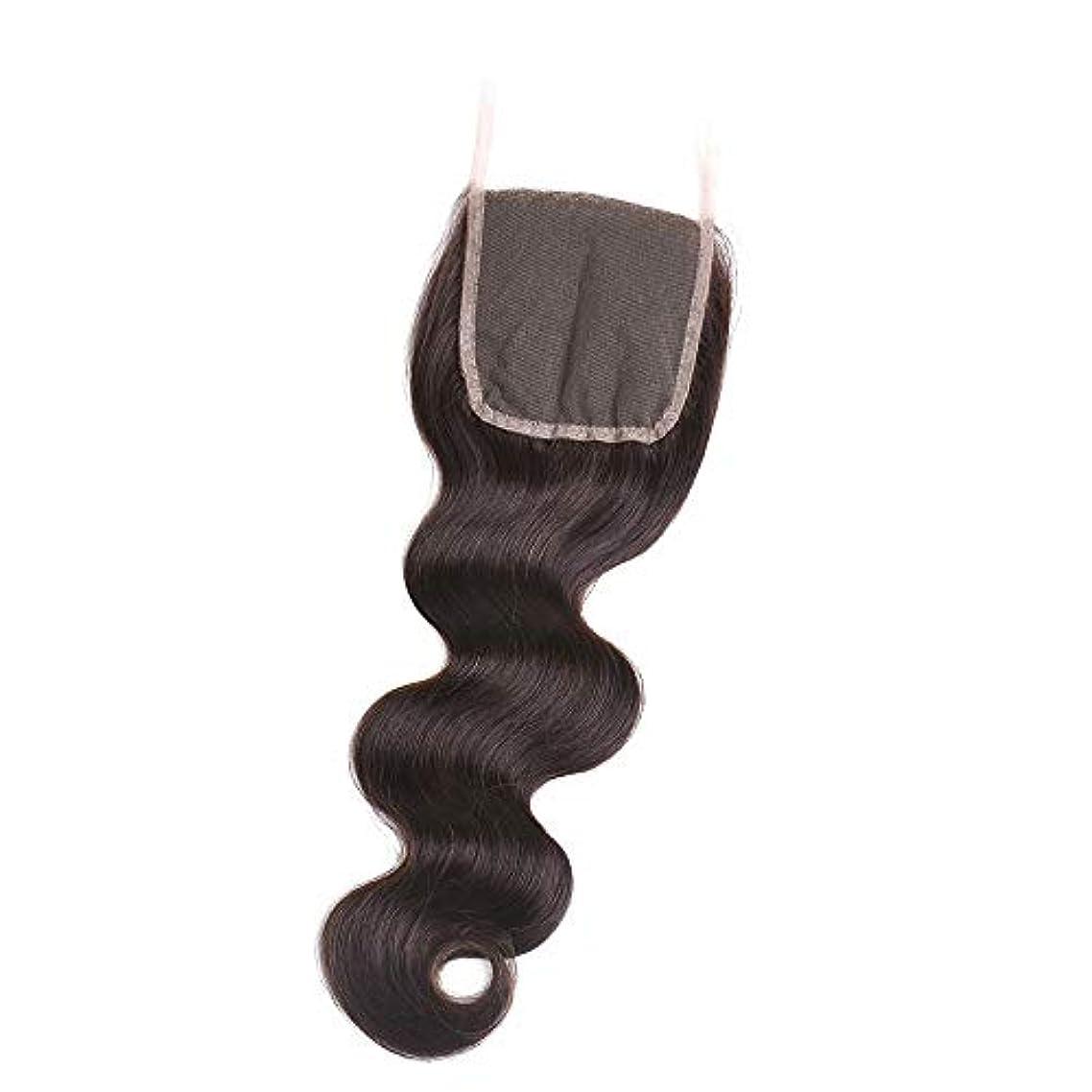 ゴルフ入り口告白HOHYLLYA フリーパート4×4インチ実体波レース前頭閉鎖ブラジル人間の髪の毛ロールプレイングかつら女性の自然なかつら (色 : 黒, サイズ : 18 inch)