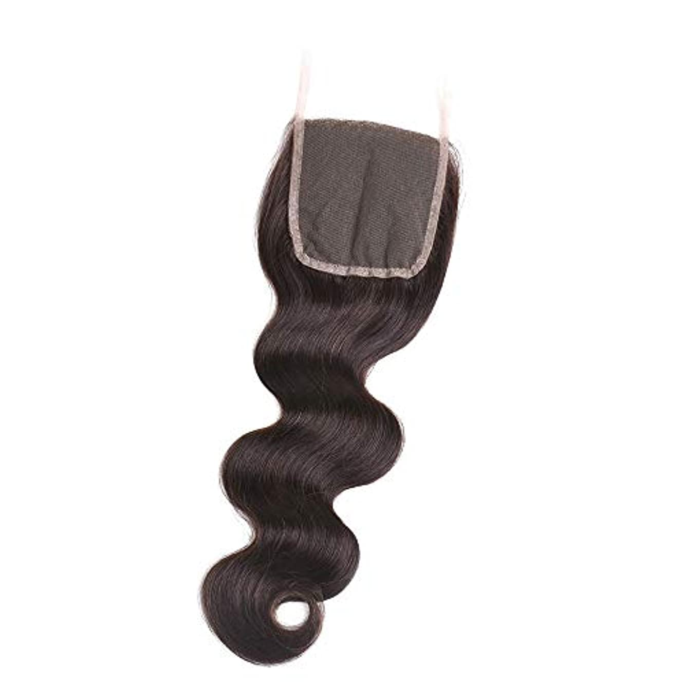 においセージ統治するHOHYLLYA フリーパート4×4インチ実体波レース前頭閉鎖ブラジル人間の髪の毛ロールプレイングかつら女性の自然なかつら (色 : 黒, サイズ : 18 inch)