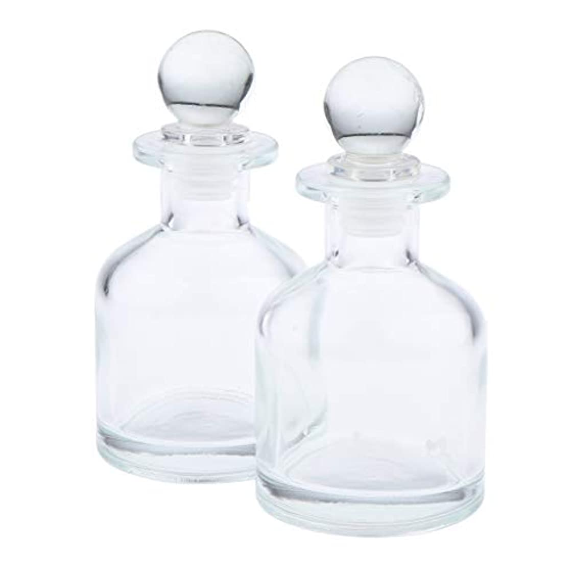 悩む選択する無視する2本 リードディフューザー用 ディフューザーボトル 透明 蓋付き 円形 2サイズ選べ - 130ミリリットル