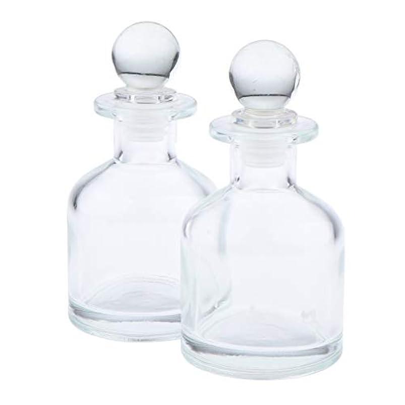 ハグご意見変化F Fityle 2個 香水ディフューザーボトル ガラス瓶 丸い クリア 部屋装飾 インテリア 2サイズ選べ - 130ミリリットル