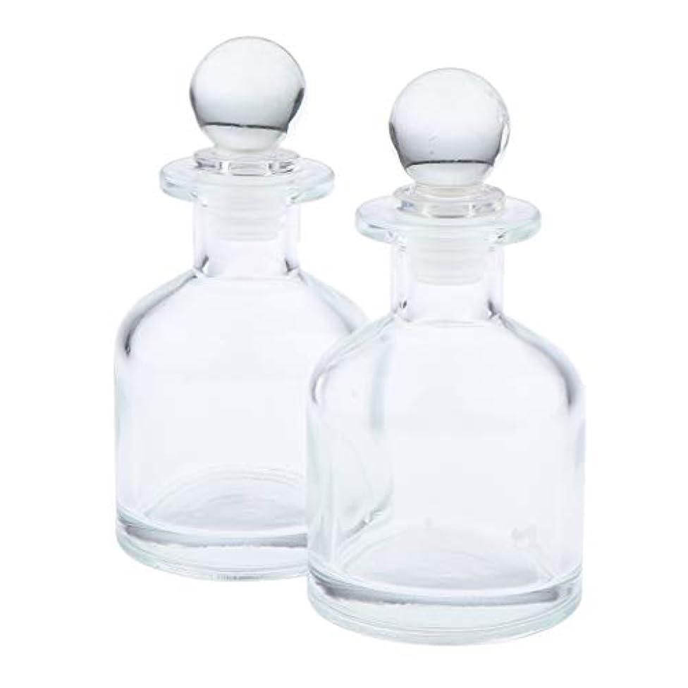 使用法矢印バルコニーF Fityle 2個 香水ディフューザーボトル ガラス瓶 丸い クリア 部屋装飾 インテリア 2サイズ選べ - 130ミリリットル