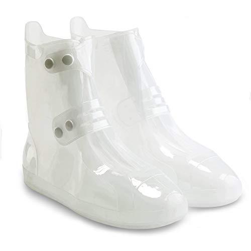 [WARMQ] シューズカバー 完全防水 靴カバー レインブーツ PVC 射出成形 耐摩耗 滑り止め ブーツカバー 超軽量 防水/雪/雨 泥避け お手入れ簡単 梅雨 豪雨 台風対策 通勤 通学 自転車 男女兼用 (XL, 白)