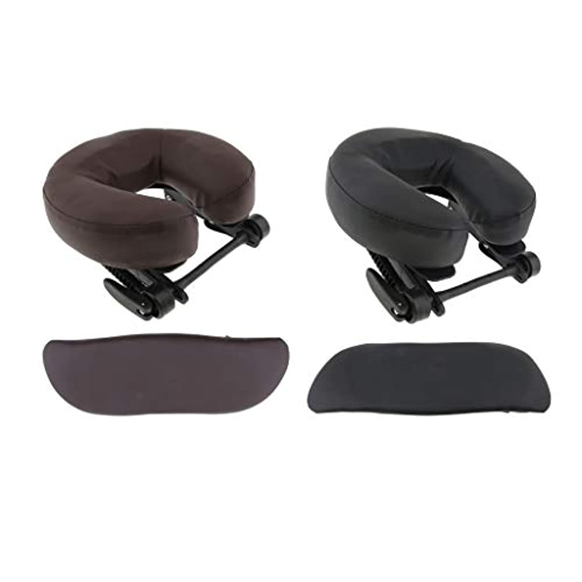 柱ただやるクランシーchiwanji 顔枕 マッサージ用 フェイスピロー U字型 アームサポート マッサージテーブル用 全2種選択 - ブラウン+ブラック