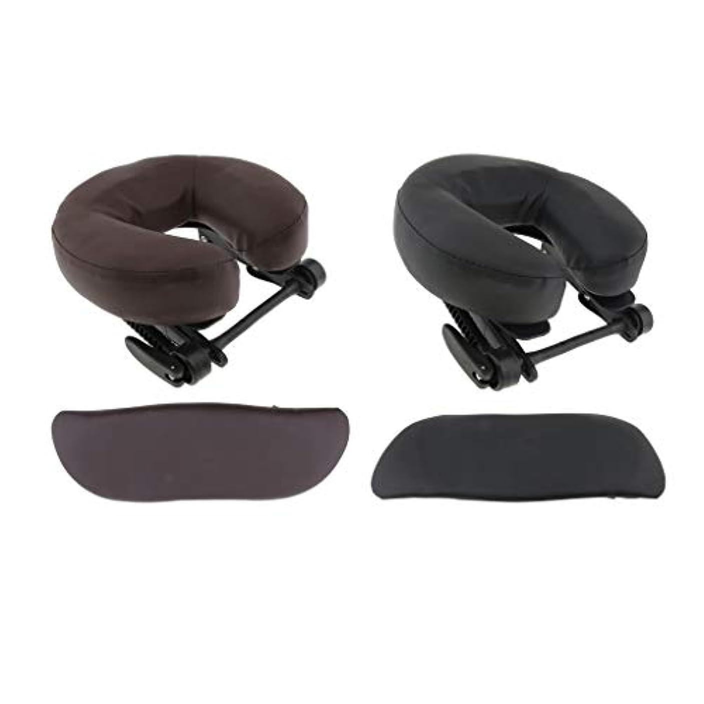 桁計算する計算するchiwanji 顔枕 マッサージ用 フェイスピロー U字型 アームサポート マッサージテーブル用 全2種選択 - ブラウン+ブラック