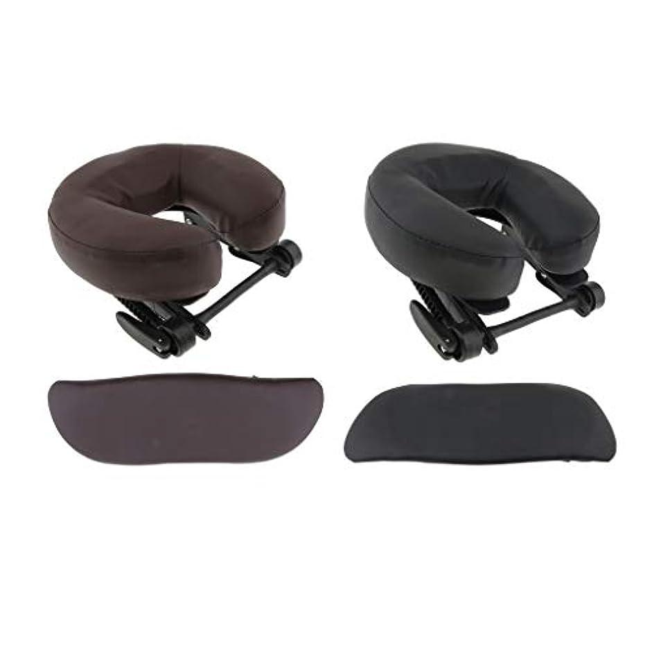 重力静けさドールchiwanji 顔枕 マッサージ用 フェイスピロー U字型 アームサポート マッサージテーブル用 全2種選択 - ブラウン+ブラック