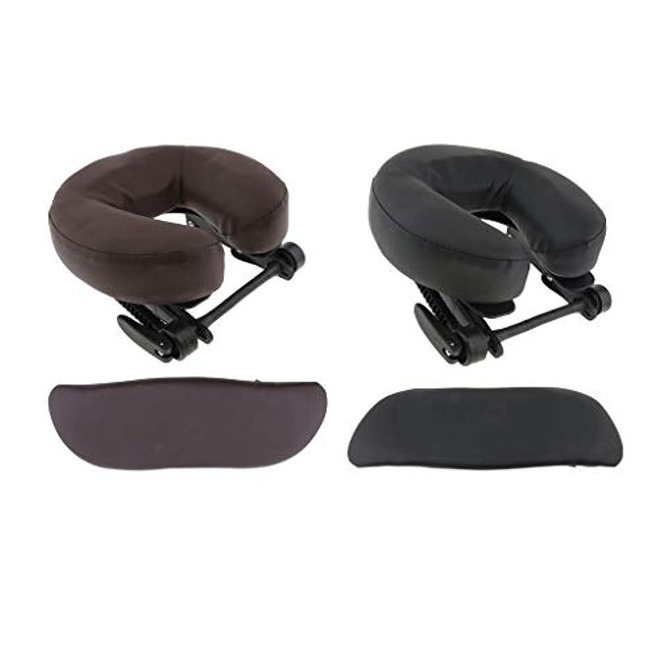 争いバリー目覚めるchiwanji 顔枕 マッサージ用 フェイスピロー U字型 アームサポート マッサージテーブル用 全2種選択 - ブラウン+ブラック