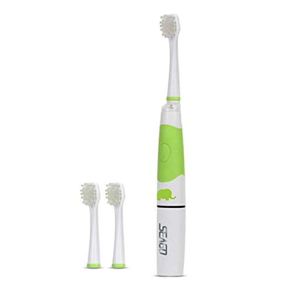 スペイン語雇った複合Saikogoods 電動歯ブラシ 3ブラシヘッドインテリジェントLEDライトオーラルケアデンタルソニック歯ブラシでSeago SG-618子供の電動歯ブラシ 緑