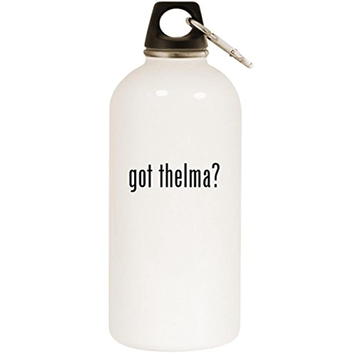 叱るベーシック餌got thelma? - ホワイト20オンスステンレススチールウォーターボトル カラビナ付き