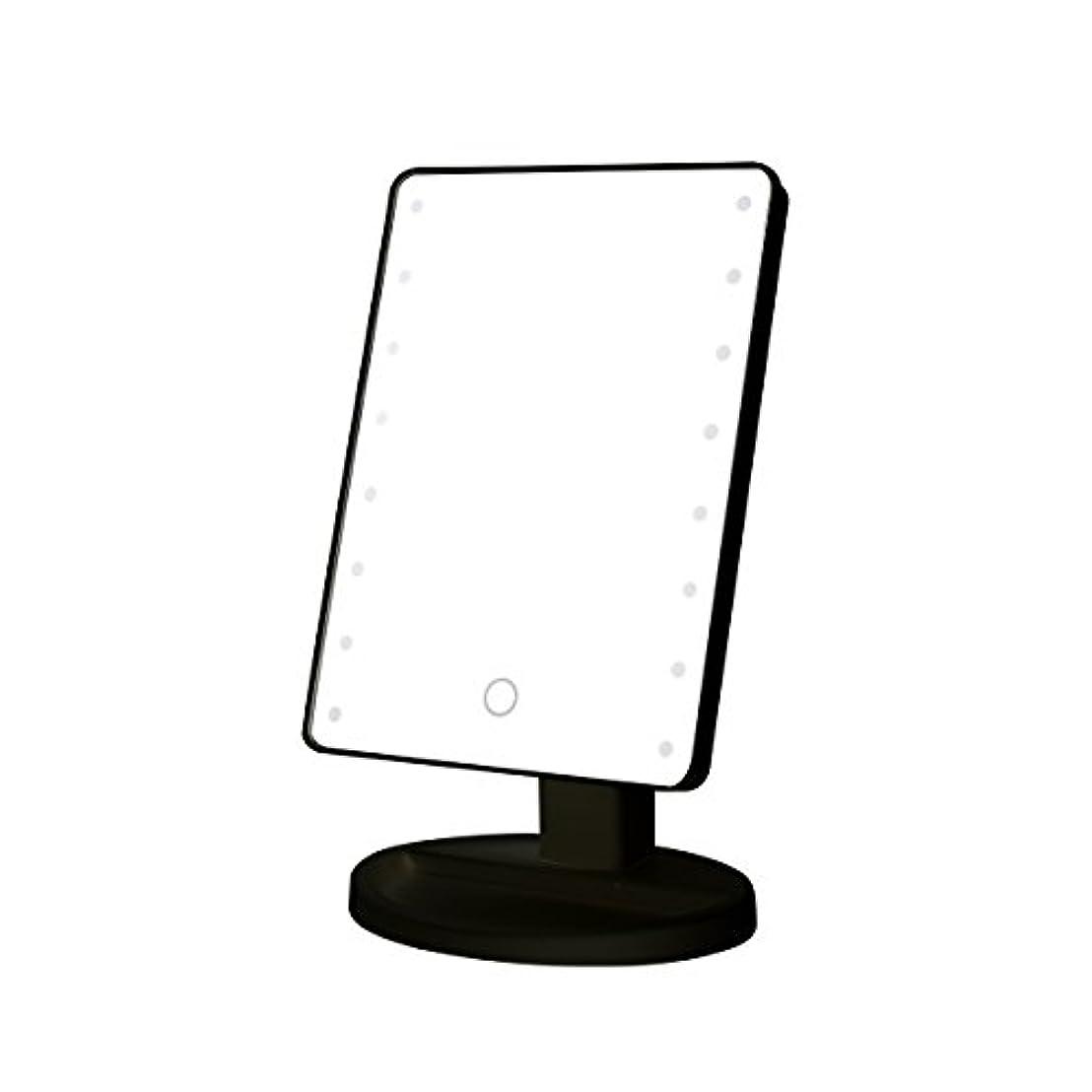 バースしみ司令官B-PING 鏡 卓上 化粧鏡 16LEDライト搭載 女優ミラー 卓上ミラー 180度回転 電池給電 プレゼント メイク 化粧道具 メイクアップミラー (ブラック )