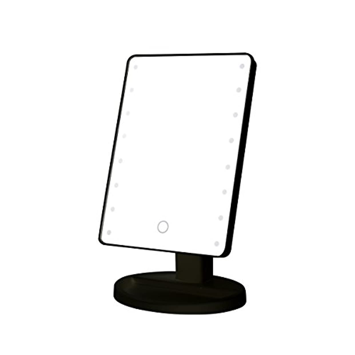 子供っぽい酔っ払いできればB-PING 鏡 卓上 化粧鏡 16LEDライト搭載 女優ミラー 卓上ミラー 180度回転 電池給電 プレゼント メイク 化粧道具 メイクアップミラー (ブラック )