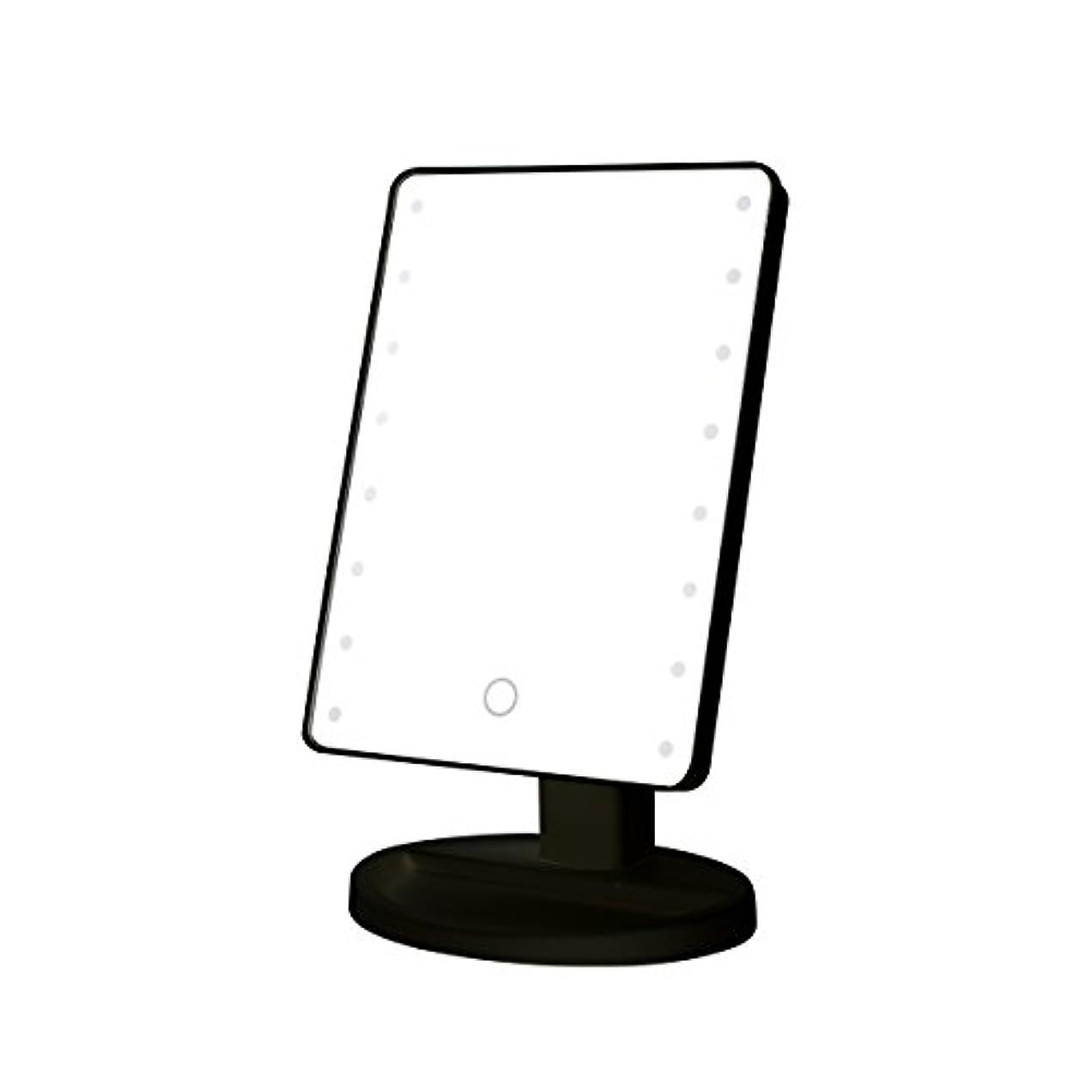 スーパーマーケット深める比較的B-PING 鏡 卓上 化粧鏡 16LEDライト搭載 女優ミラー 卓上ミラー 180度回転 電池給電 プレゼント メイク 化粧道具 メイクアップミラー (ブラック )