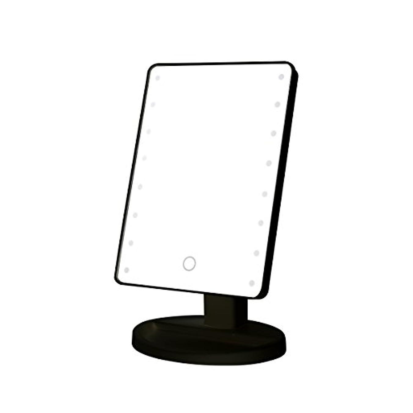 七面鳥スラッシュケープB-PING 鏡 卓上 化粧鏡 16LEDライト搭載 女優ミラー 卓上ミラー 180度回転 電池給電 プレゼント メイク 化粧道具 メイクアップミラー (ブラック )